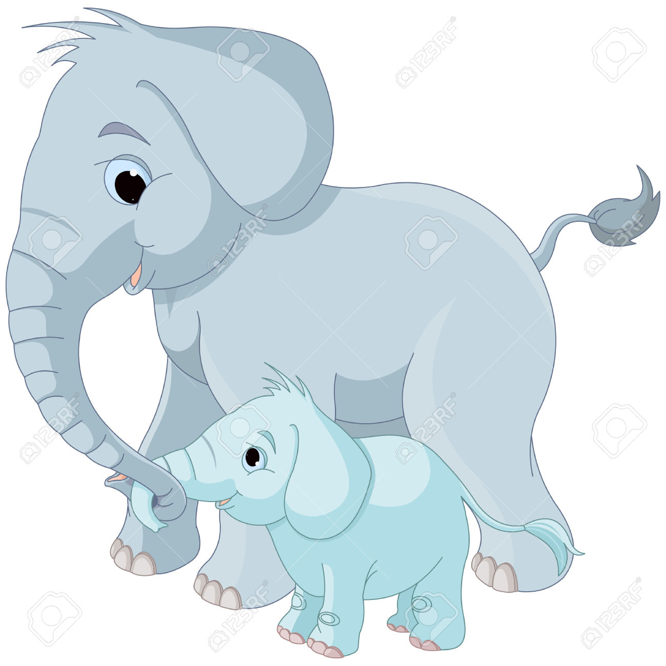 Mama elephant clipart vector freeuse library Illustration Of Cute Mother And Baby Elephant Royalty Free ... vector freeuse library