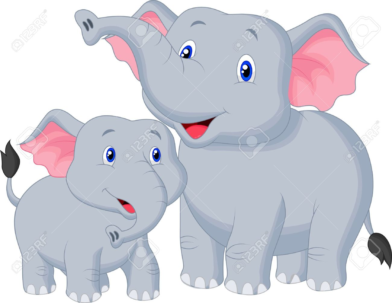 Mama elephant clipart banner library library Mother And Baby Elephant Cartoon Royalty Free Cliparts, Vectors ... banner library library