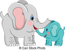 Mama elephant clipart clip art black and white library Vector Clipart of Mother elephant and baby elephant - Vector image ... clip art black and white library