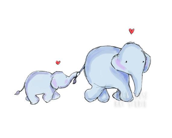 Mama elephant clipart vector transparent download Nursery Art Mama Elephant and Baby 8x10 Print vector transparent download