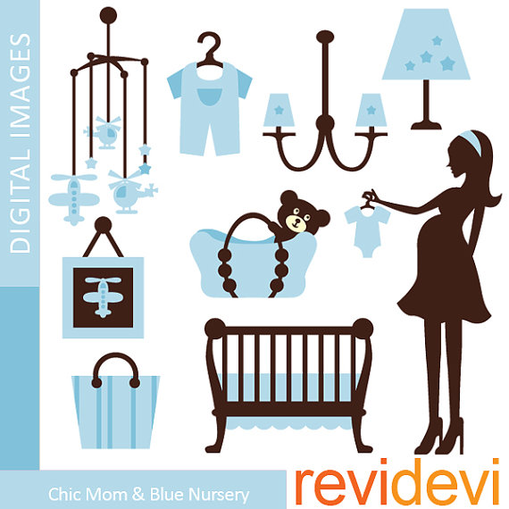 Mama und baby clipart svg freeuse Digital clipart.. Chic Mom and Blue Nursery Clipart 07365 ... svg freeuse
