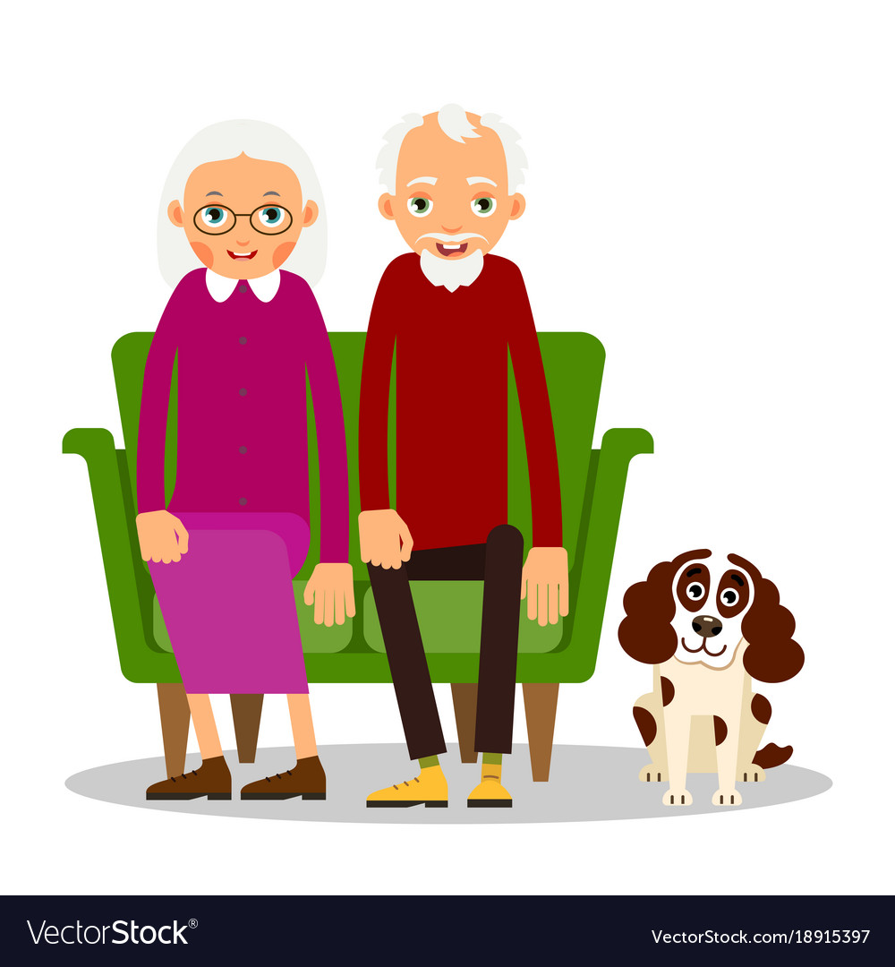 Man and woman sitting on sofa clipart png black and white download Older couple on the sofa sitting elderly woman png black and white download
