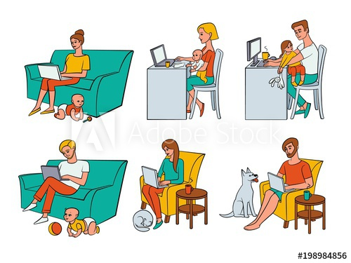 Man and woman sitting on sofa clipart vector transparent Vector cartoon people working from home, remote, freelance work set ... vector transparent