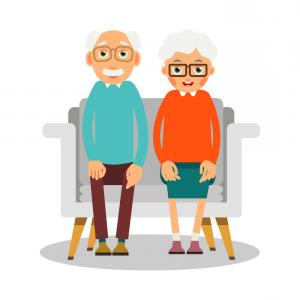 Man and woman sitting on sofa clipart graphic transparent stock On The Sofa Sit Elderly Woman Man And Dog Vector | SOIDERGI graphic transparent stock