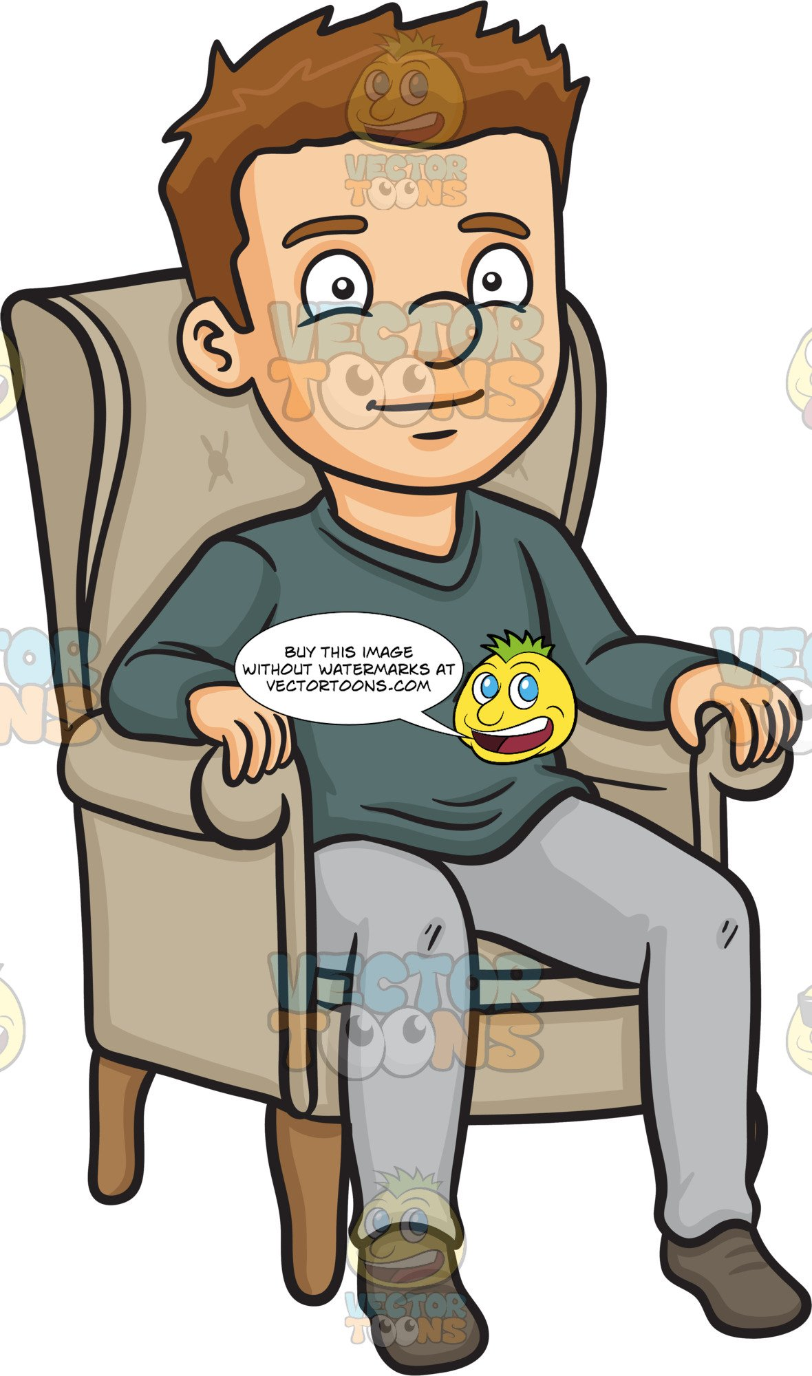 Man and woman sitting on sofa clipart picture free A Man Relaxing On A Single Couch picture free