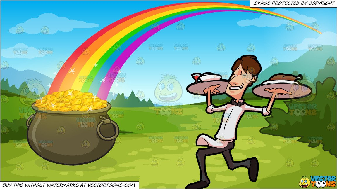 Man carrying gold clipart black and white black and white A Happy Waiter Carrying Trays Of Food and Pot Of Gold At The End Of The  Rainbow Background black and white