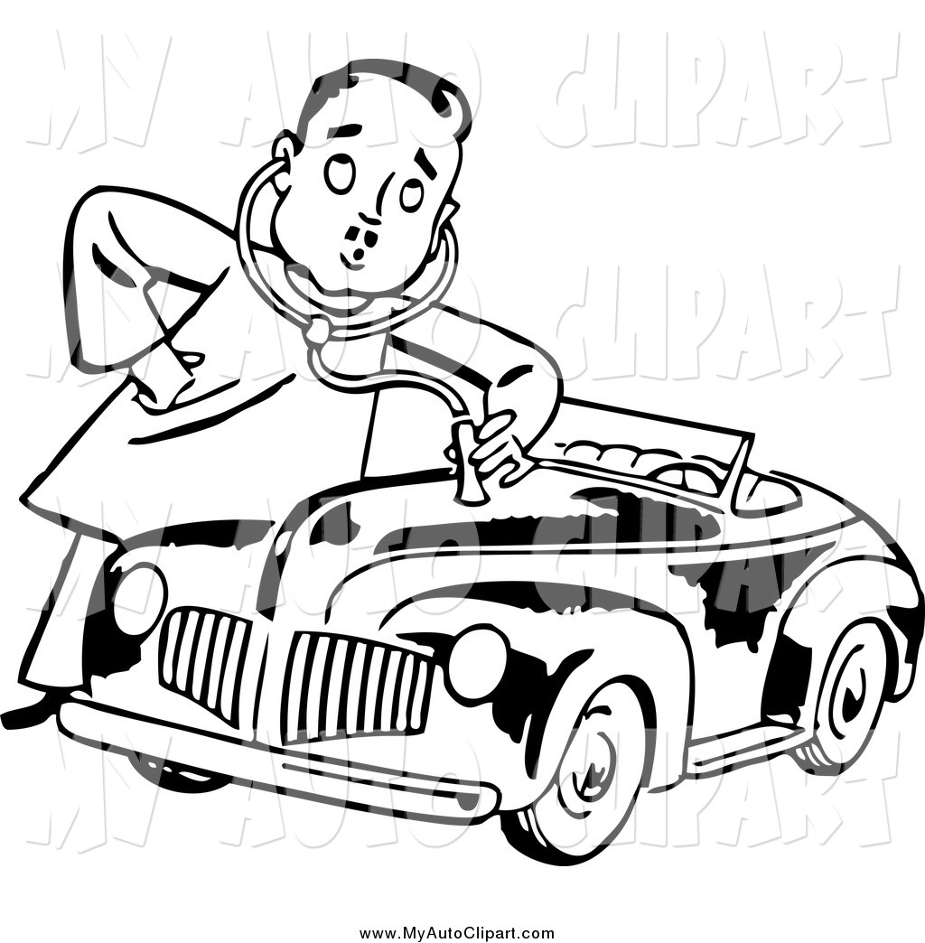 Man giving a book clipart picture transparent stock Clipart Of A Black And White Retro Mechanic Man Giving A ... picture transparent stock
