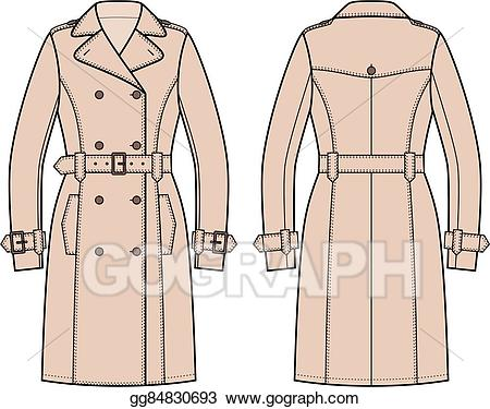 Man in trench coat from the back clipart picture library library Vector Art - Trench coat. Clipart Drawing gg84830693 - GoGraph picture library library