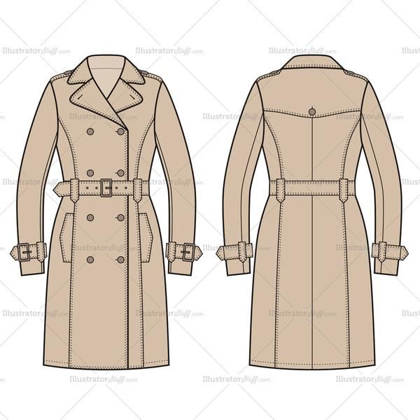 Man in trench coat from the back clipart png Women\'s Trench Coat Fashion Flat Template | Fashion Illustrations ... png