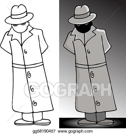 Man in trench coat from the back clipart vector Vector Art - Mysterious trenchcoat man. EPS clipart gg58190457 - GoGraph vector