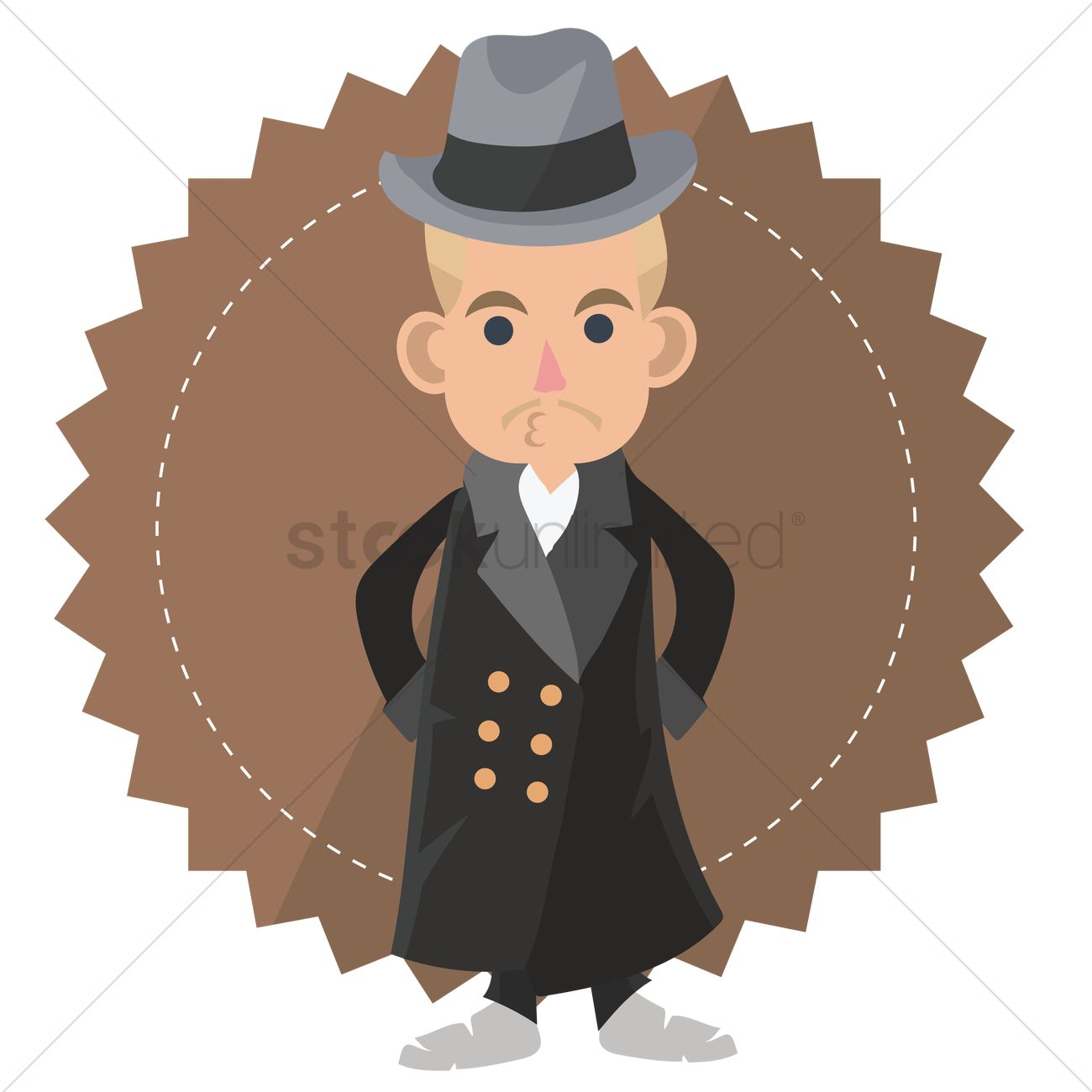 Man in trench coat from the back clipart picture royalty free Free Man wearing a trench coat and bowler hat Vector Image - 1287442 ... picture royalty free
