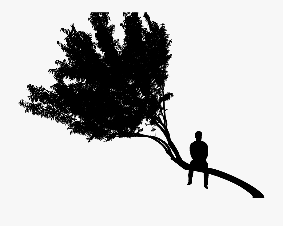 Man is compared to a tree clipart jpg black and white stock Clipart Free Stock Man Sitting On Big - Man In Tree Silhouette ... jpg black and white stock