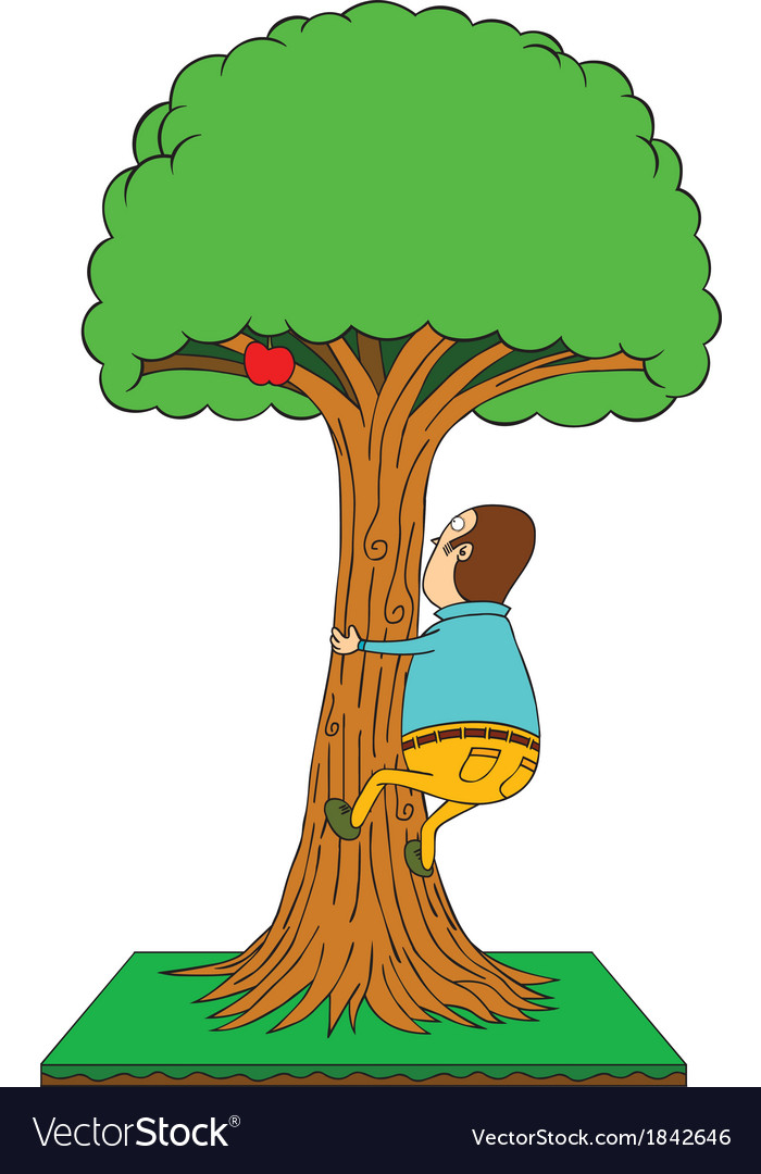 Man is compared to a tree clipart graphic Man climbing apple tree graphic