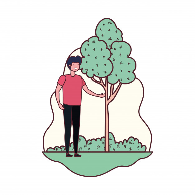 Man is compared to a tree clipart black and white Young man in landscape with trees and plants Vector | Free Download black and white