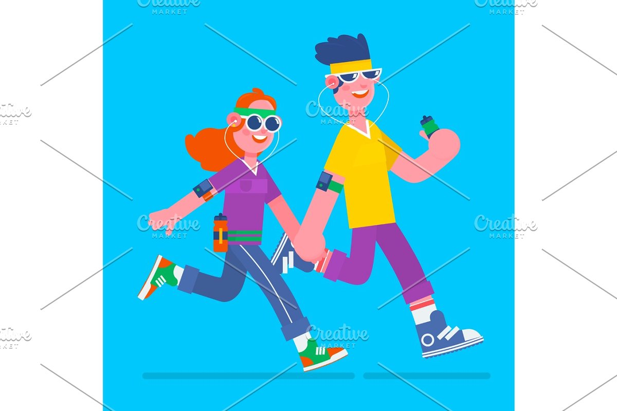 Man jogging in a park with headphones clipart free Young man and woman jogging. Young man and woman running it with music  earphones and smart phone.Fitness run flat vector illustration free