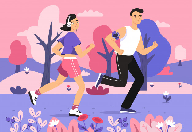 Man jogging in a park with headphones clipart