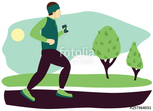 Man jogging in a park with headphones clipart image black and white Runner is running in the park with trees. Flat vector illustration ... image black and white