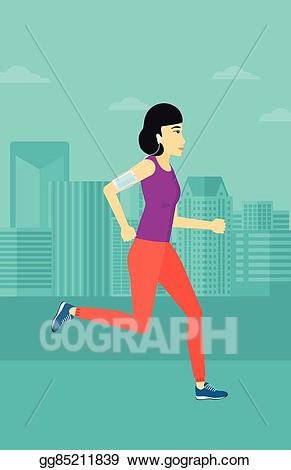Man jogging in a park with headphones clipart stock Vector Art - Woman jogging with earphones and smartphone. EPS ... stock