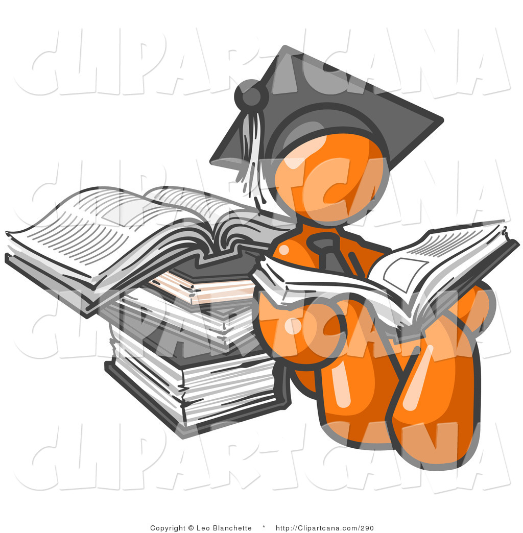Man leaning against brush clipart vector royalty free library Vector Clip Art of an Orange Student Man in a Graduation Cap ... vector royalty free library