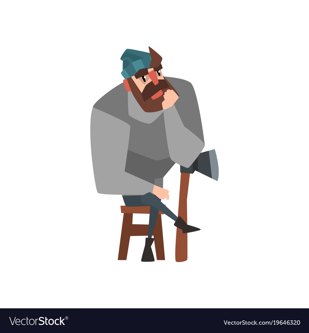 Man leaning against brush clipart clip art royalty free Bearded man sitting on wooden chair leaning on ax clip art royalty free