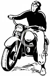Man on motorcycle clipart vector black and white A Man Riding a Motorcycle - Royalty Free Clipart Picture vector black and white