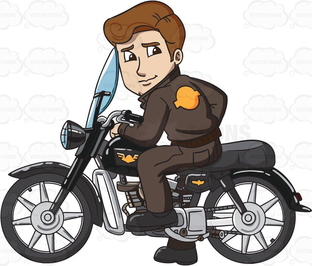 Man on motorcycle clipart graphic royalty free download A man poses with his sleek new motorbike #cartoon #clipart #vector ... graphic royalty free download