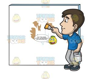 Man painting wall clipart image transparent stock A Man Painting The Patched Wall With White Paint image transparent stock
