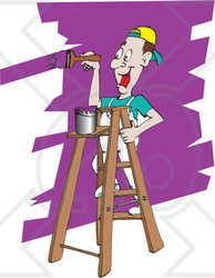 Man painting wall clipart transparent library Royalty-Free (RF) Clipart Illustration of a Happy Man ... transparent library