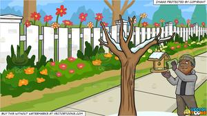 Man pouring clipart black and white free library A Black Man Pouring Bird Food On A Bird House and White Picket Fence  Background free library