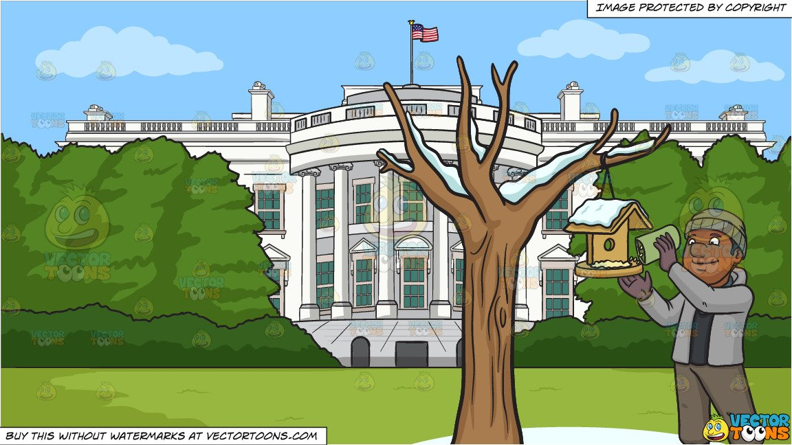 Man pouring clipart black and white jpg free A Black Man Pouring Bird Food On A Bird House and White House South Lawn  Background jpg free