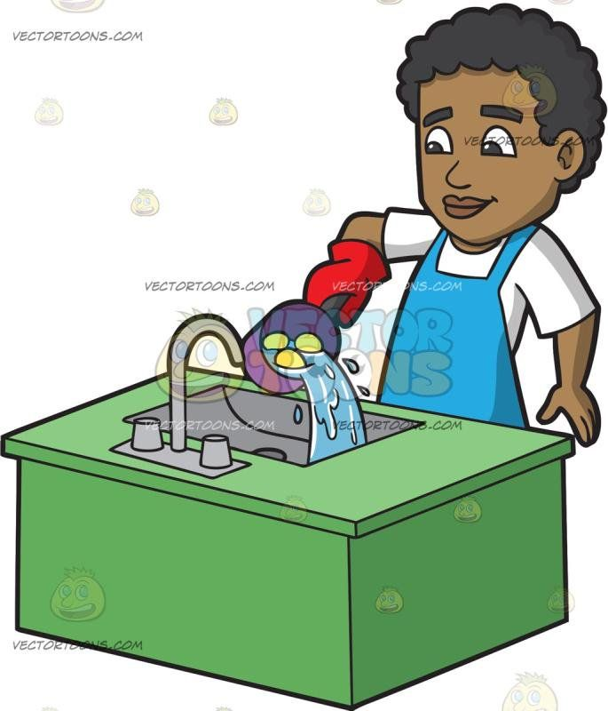 Man pouring clipart black and white png royalty free A Black Man Pouring Out Hot Water From The Pan: A black man with ... png royalty free