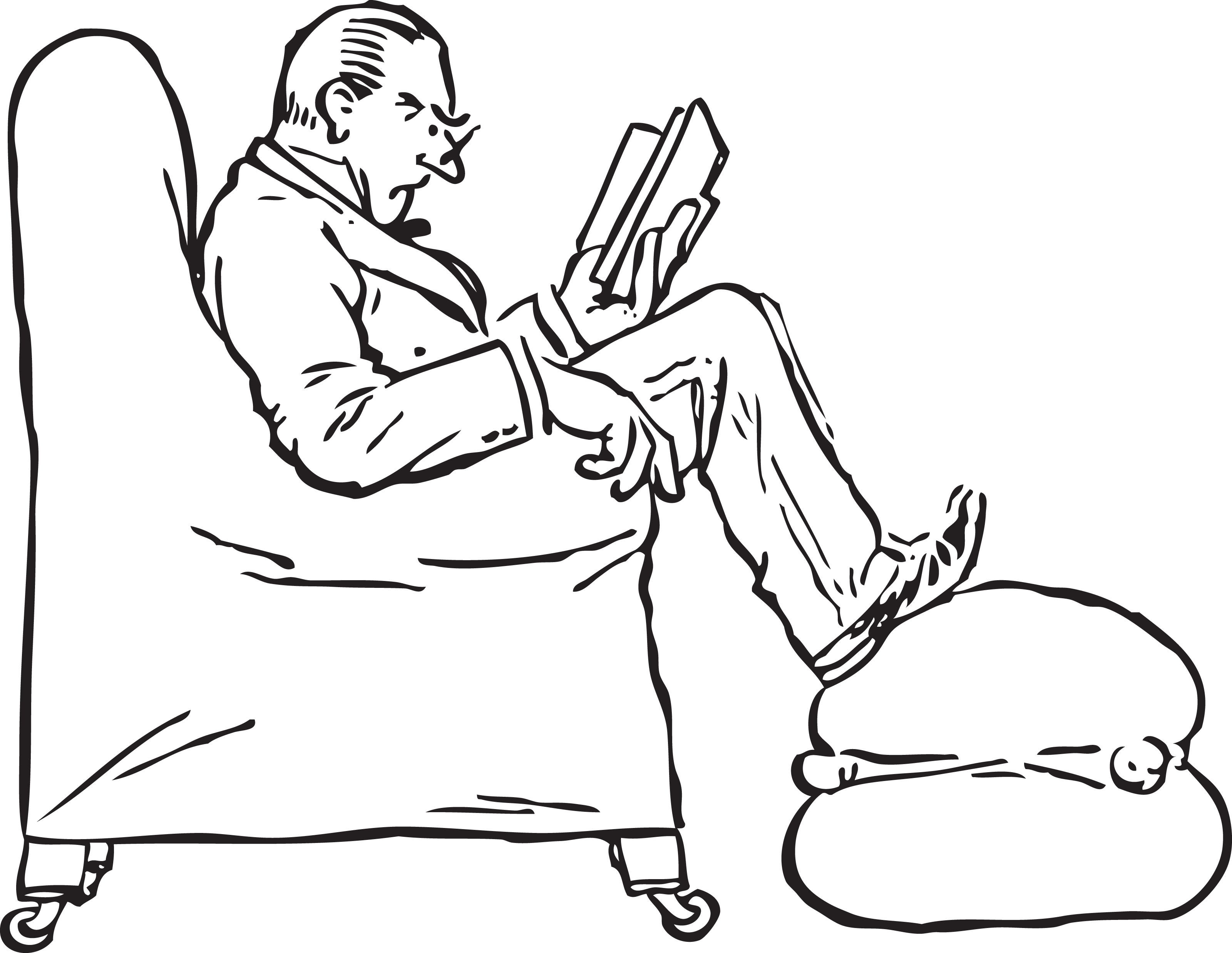 Man reading book clipart clip black and white download Free Retro Clipart Illustration Of Man Reading Book While Puppy Nail ... clip black and white download
