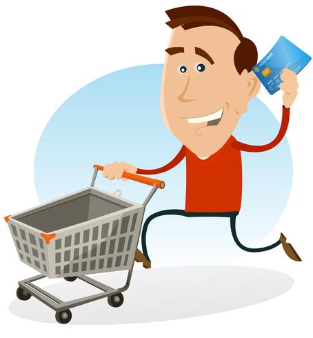Man shopping and paying clipart free graphic freeuse stock Happy Man Shopping With Credit Card Vector - Download Free Vector ... graphic freeuse stock