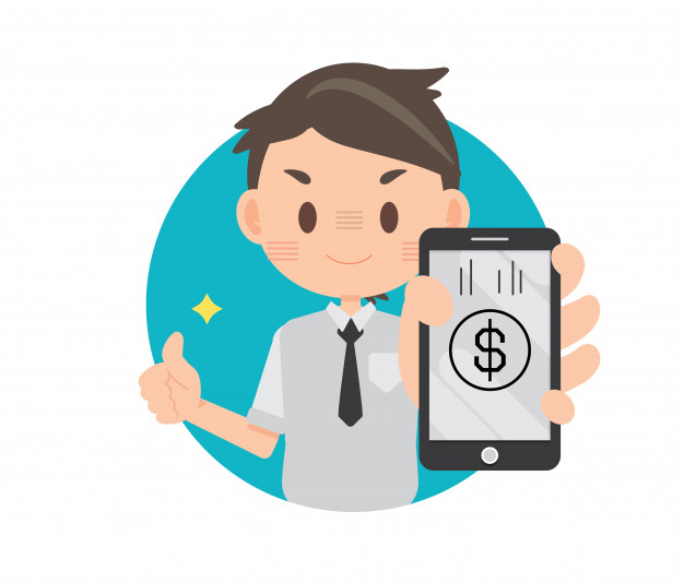 Man shopping and paying clipart free banner library Business man holding smartphone, shopping online mobile payment ... banner library