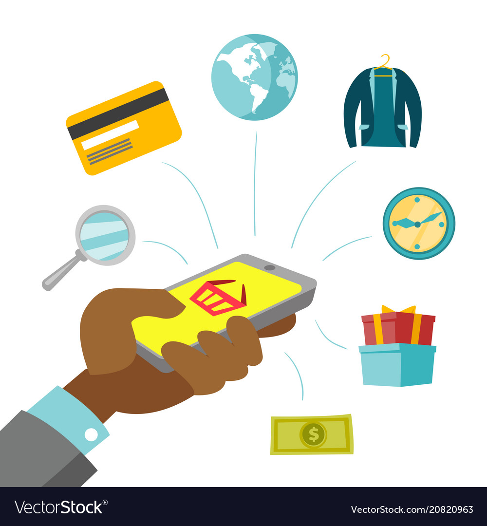 Man shopping and paying clipart free clip download Online shopping with a smartphone clip download