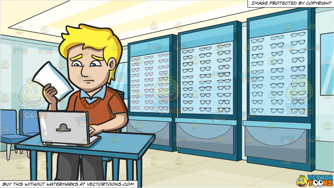 Man shopping and paying clipart free clip art royalty free stock A Man Looking Worried While Paying His Bills Online and An Optical Shop  Background clip art royalty free stock