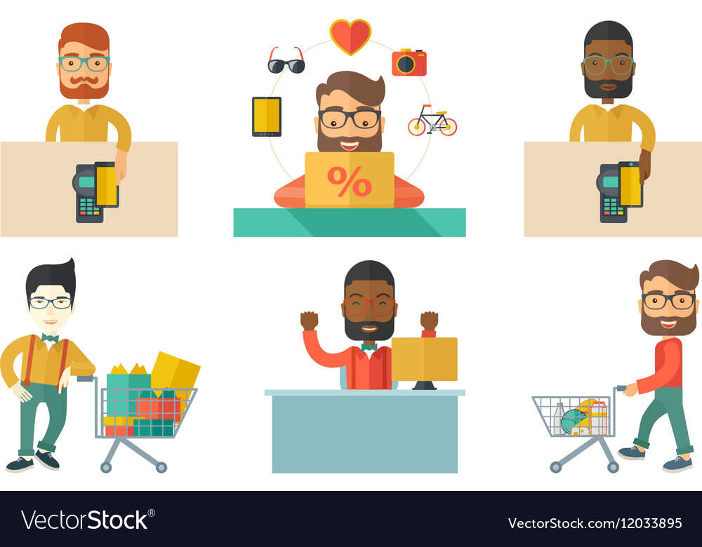 Man shopping and paying clipart free vector royalty free stock Set of shopping people characters vector image on VectorStock vector royalty free stock