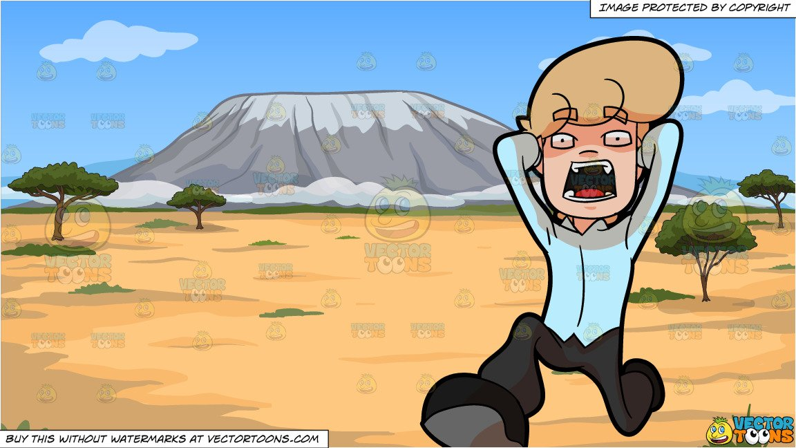 Man shouting on mountain clipart graphic free library A Very Anxious And Surprised Man Running Away and A Small Mountain In The  Middle Of A Desert Background graphic free library