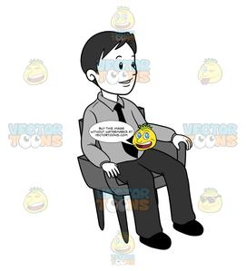 Man sitting in chair facing left clipart banner royalty free Business Man Sitting In A Chair banner royalty free