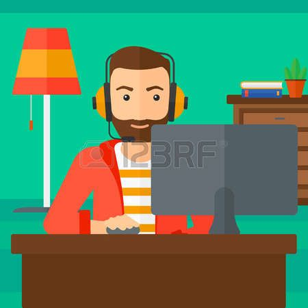 Man sitting in front of computer clipart banner free stock sit at the computer: A hipster man in headphones sitting in front of ... banner free stock