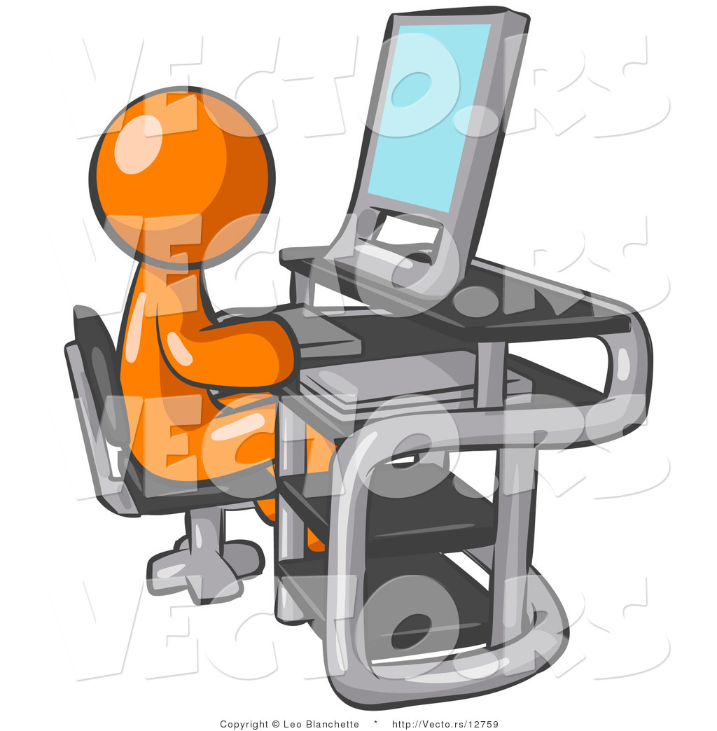Man sitting in front of computer clipart clip library Vector of Orange Guy Sitting at a Desk in Front of a Computer with a ... clip library