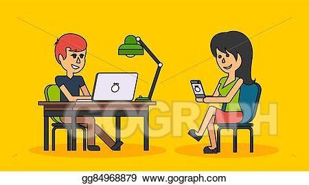 Man sitting in front of computer clipart royalty free library Vector Clipart - People work in office design flat. Vector ... royalty free library