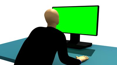 Man sitting in front of computer clipart freeuse download Computer Animation Representing A 3d-man Sitting In Front Of A ... freeuse download
