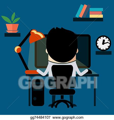 Man sitting in front of computer clipart clip art royalty free library Clip Art Vector - Man sitting on chair at table front of computer ... clip art royalty free library