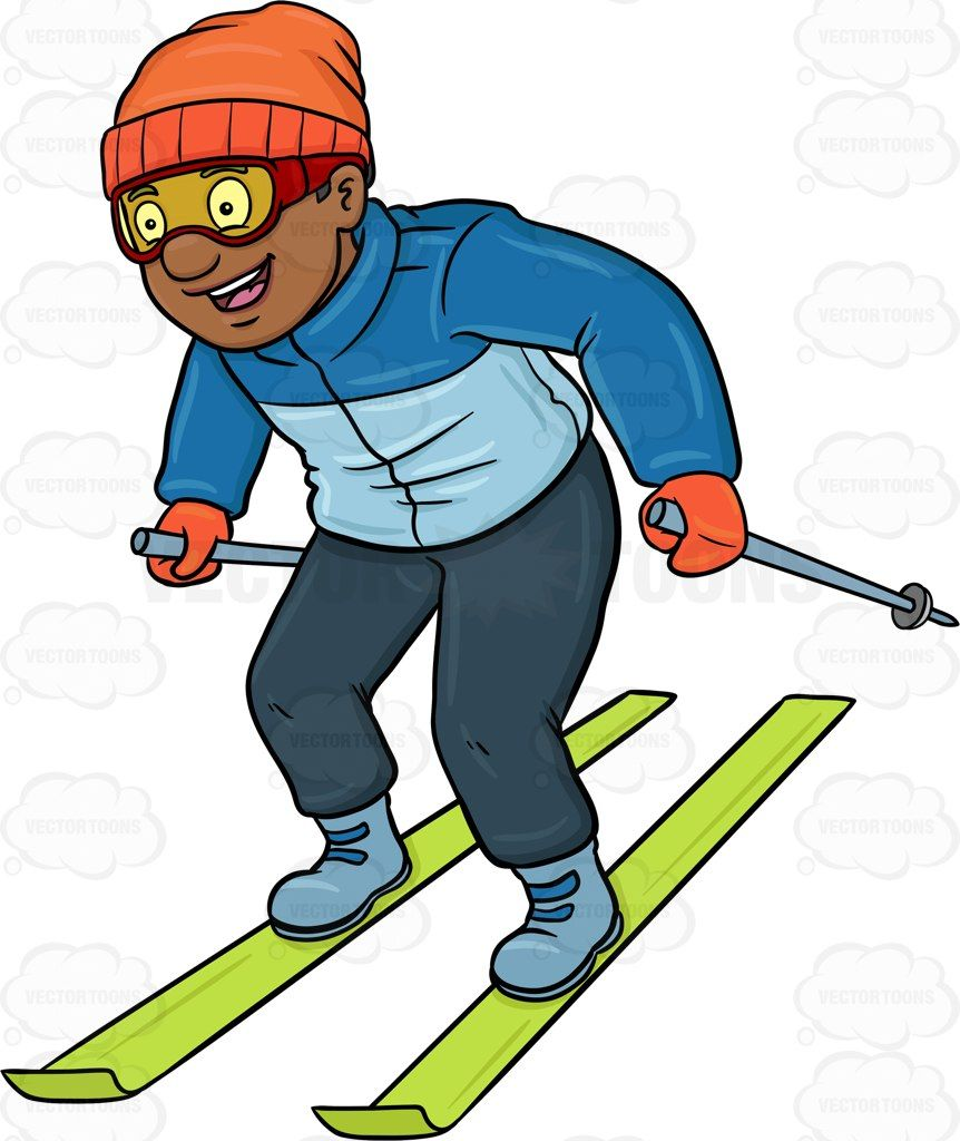 Man skiing clipart png black and white A Black Man Having Fun While Skiing #activity #amusing #apply #bask ... png black and white