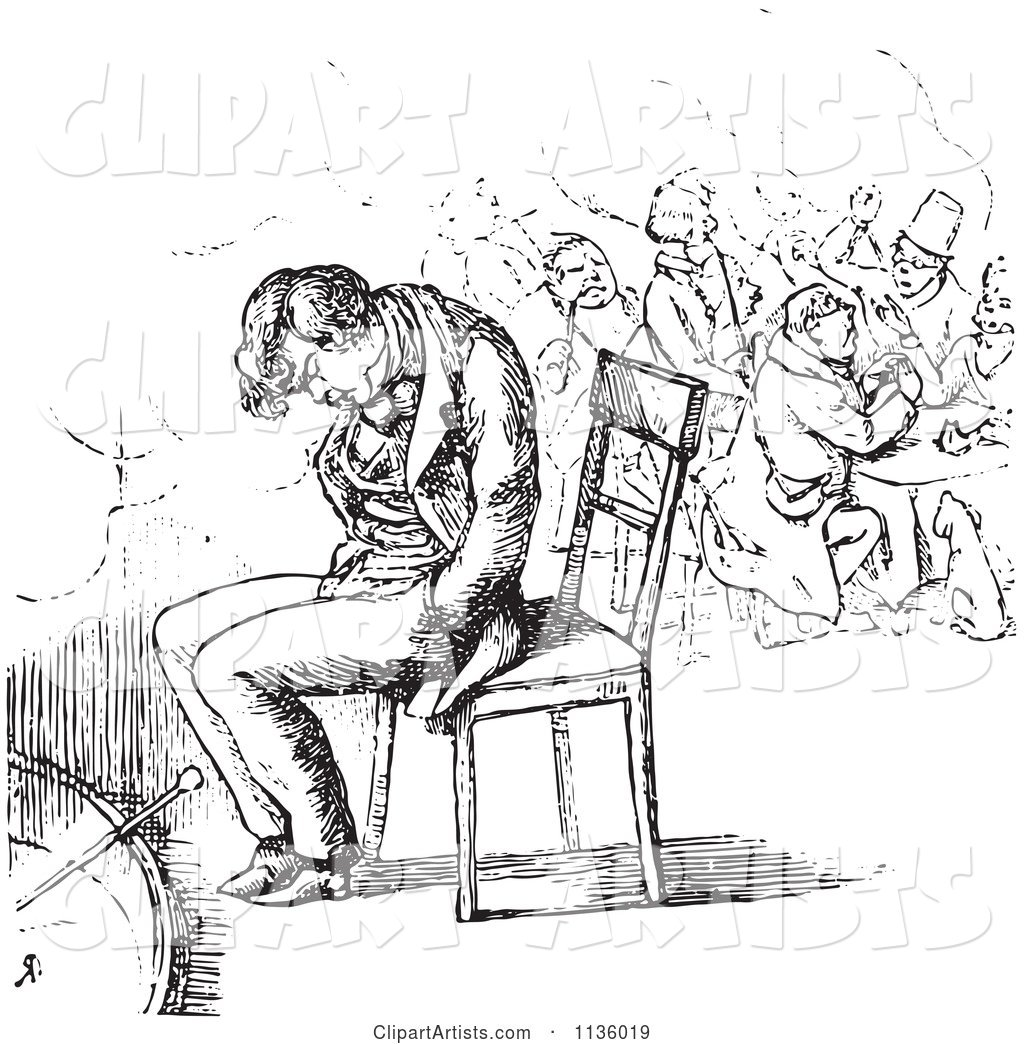 Man sleeping on chair clipart black and white download Retro Vintage Man Sleeping In A Chair In Black And White Clipart by ... download