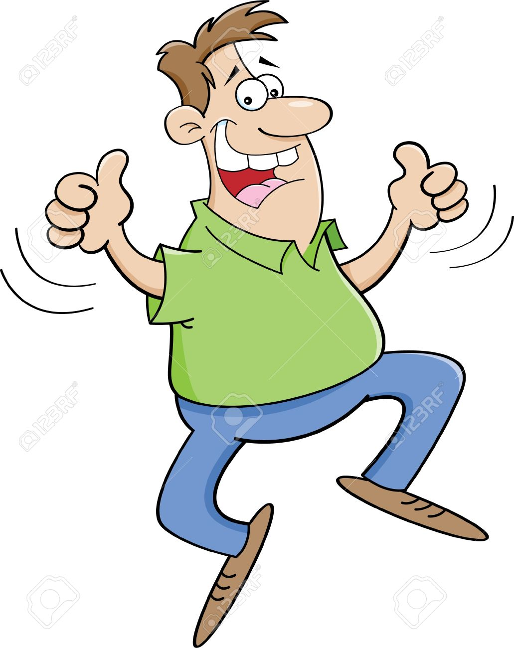 Man thumbs up clipart jpg freeuse download Cartoon Illustration Of A Man Jumping With Thumbs Up Royalty Free ... jpg freeuse download
