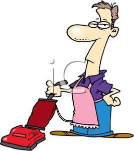 Man vacuuming clipart image library library funny nurse clip art   man wearing an apron pushing a vacuum ... image library library