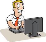 Man vs computer clipart vector free Man On Computer Clipart vector free