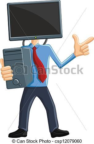 Man vs computer clipart image transparent Clip Art Vector of Computer Man Mascot - Computer Man Mascot ... image transparent